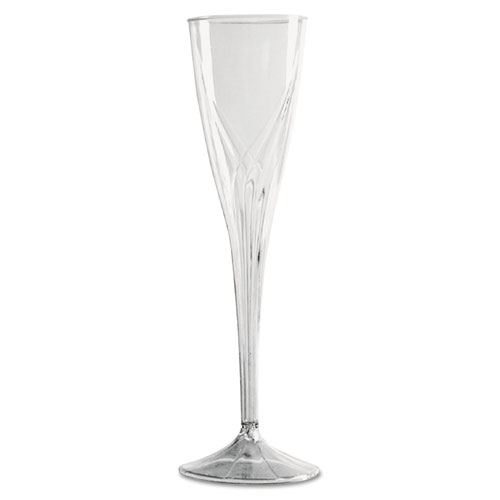 Classicware One-Piece Champagne Flutes, 5 oz., Clear, Plastic, 10/Pack