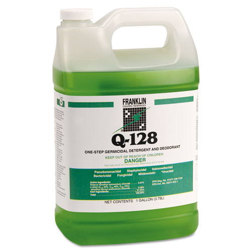 Franklin Cleaning Technology® Q-128 Germicidal Detergent, Pine Forest Scent, Liquid, 1 gal. Bottle, 4/Carton