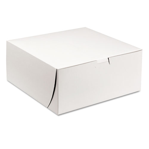 Tuck-Top Bakery Boxes, 9 x 9 x 4, White, 200/Carton
