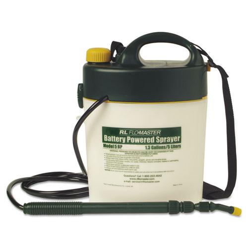 Portable Battery-Powered Sprayer w/Telescoping Wand, 1.3 Gallon, Black/White