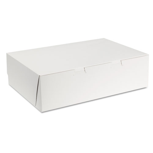 Tuck-Top Bakery Boxes, 14w x 10d x 4h, White, 100/Carton