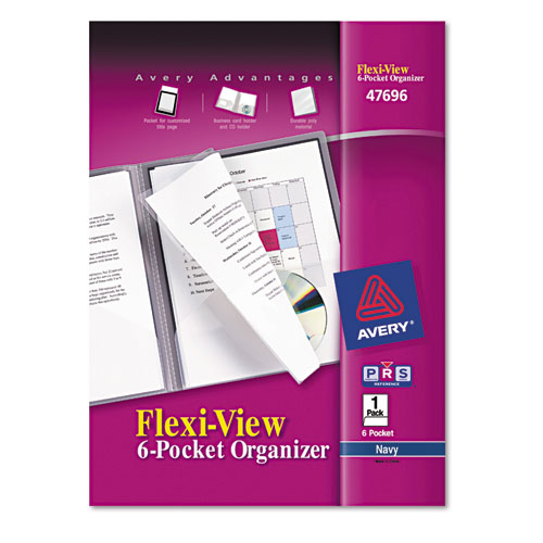 Flexi-View Six-Pocket Polypropylene Organizer, 150-Sheet Cap., Translucent/Navy | by Plexsupply