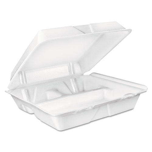 Dart® Large Foam Carryout, Food Container, 3-Compartment, White, 9-2/5x9x3