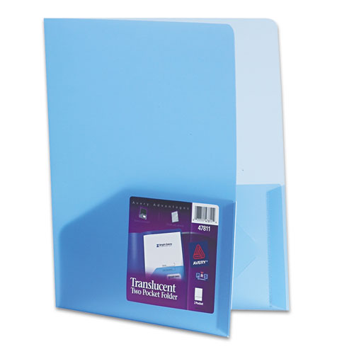 Plastic Two-Pocket Folder, 20-Sheet Capacity, Translucent Blue | by Plexsupply