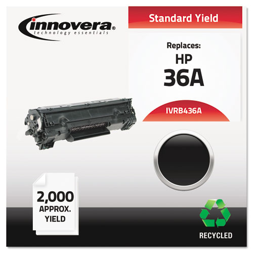 Remanufactured CB436A (36A) Toner, 2000 Page-Yield, Black | by Plexsupply