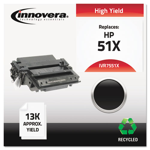 Remanufactured Q7551X (51X) High-Yield Toner, 13000 Page-Yield, Black | by Plexsupply