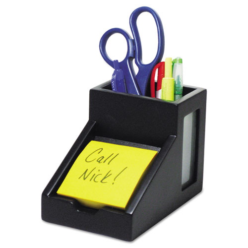 Midnight Black Collection Pencil Cup with Note Holder, 4 x 6 3/10 x 4 1/2, Wood
