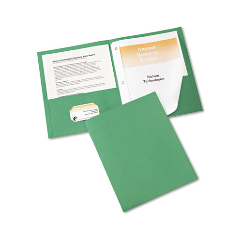 "Two-Pocket Folder, Prong Fastener, Letter, 1/2"" Capacity, Green, 25/Box 