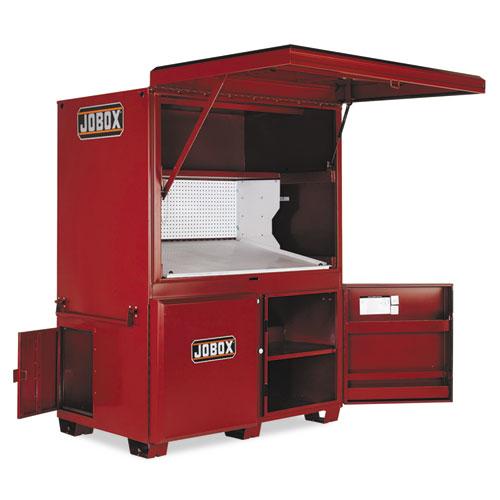 Heavy-Duty Field Office, 63 x 42 x 80, Steel, Red