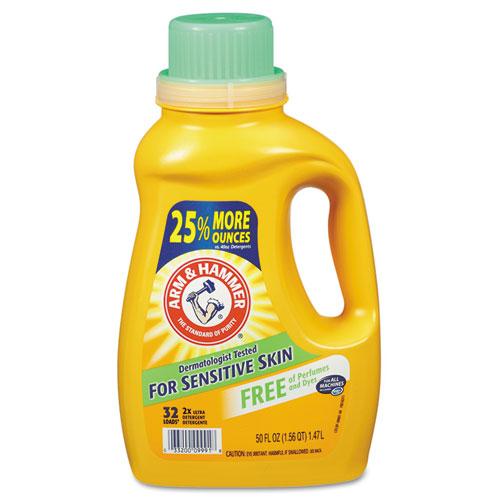Arm & Hammer™ HE Compatible Liquid Detergent, Unscented, 50 oz Bottle, 8/Carton