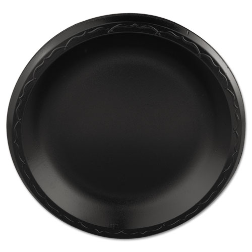 "Elite Laminated Foam Plates, 8.88"" dia, Black, 125/Pack, 4 Pack/Carton"