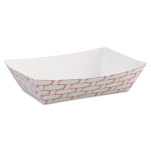 Paper Food Baskets, 6 oz Capacity, 3.78 x 4.3 x 1.08, Red/White, 1,000/Carton