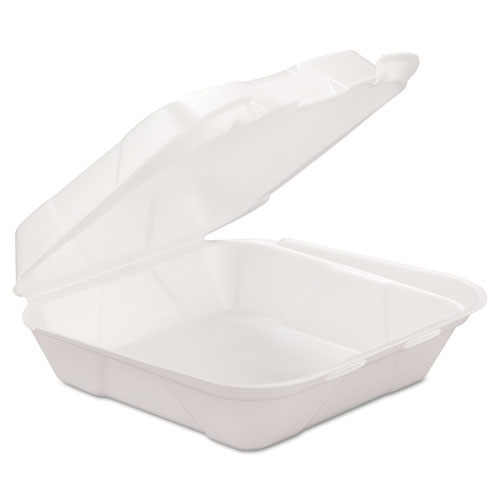 GEN Foam Hinged Carryout Container, 1-Comp, White, 8 X 8 1/4 X 3, 200/Carton