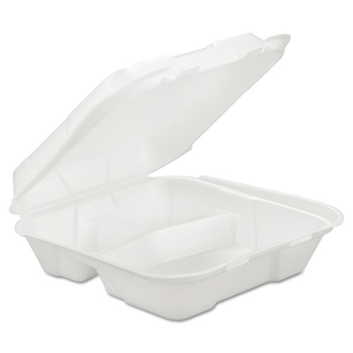 GEN Foam Hinged Carryout Container, 3-Comp, White, 9 1/4 X 9 1/4 X 3, 200/Carton