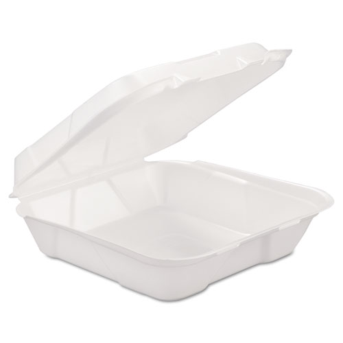 GEN Foam Hinged Carryout Container, 1-Comp, White, 9 1/4 X 9 1/4 X 3, 200/Carton