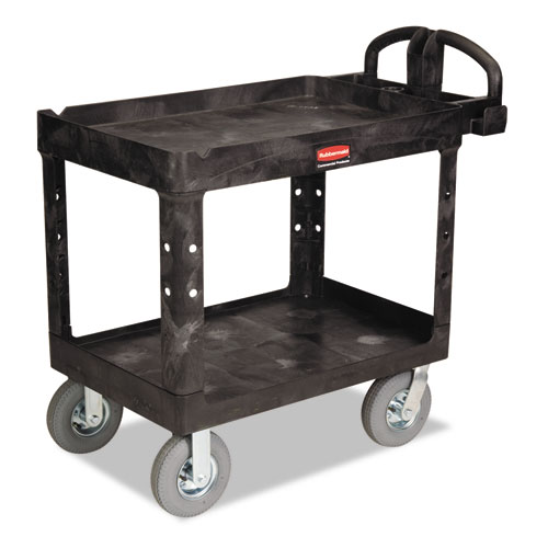 Heavy-Duty Utility Cart, Two-Shelf, 25.88w x 45.25d x 37.13h, Black