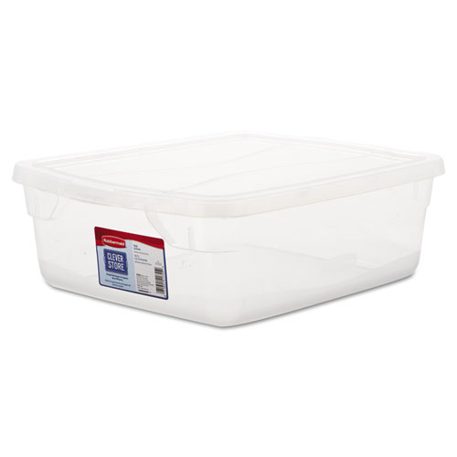 Rubbermaid® Clever Store Snap-Lid Container, 13 3/8 x 16 7/8 x 5 3/8, 15 qt, Clear