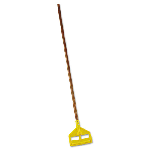 """Invader Wood Side-Gate Wet-Mop Handle, 54"""", Natural/Yellow"""