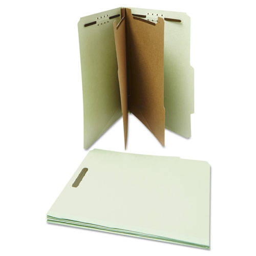 Six--Section Pressboard Classification Folders, 2 Dividers, Letter Size, Gray-Green, 10/Box