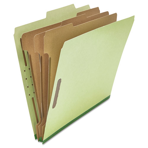 Universal® Pressboard Classification Folder, Letter, Eight-Section, Green, 10/Box