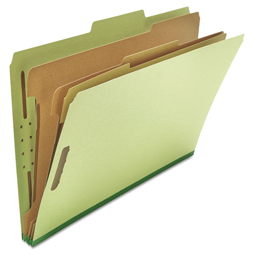 Eight-Section Pressboard Classification Folders, 3 Dividers, Legal Size, Green, 10/Box