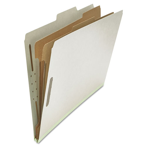Six--Section Pressboard Classification Folders, 2 Dividers, Legal Size, Gray, 10/Box