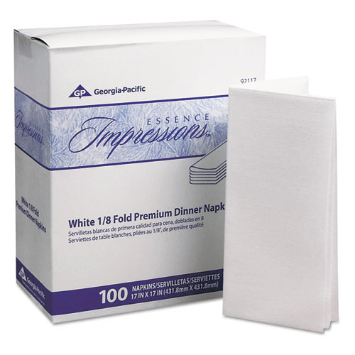 Essence Impressions 1/8-Fold Dinner Napkins, Two-Ply, 17 x 17, White | by Plexsupply