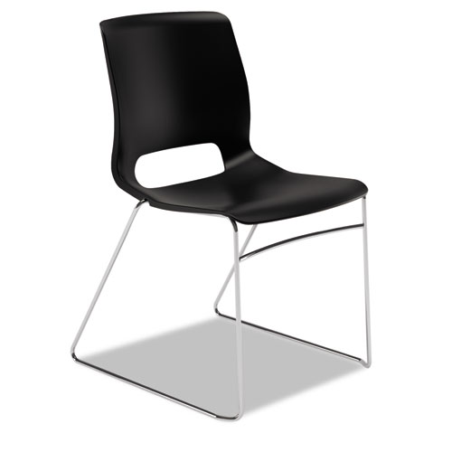Motivate High-Density Stacking Chair, Onyx Seat/Black Back, Chrome Base, 4/Carton | by Plexsupply