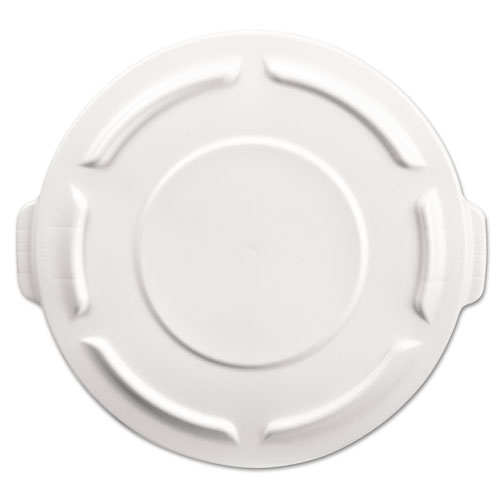 Rubbermaid® Commercial Round Brute Flat Top Lid, 19 7/8 x 1 4/5, White