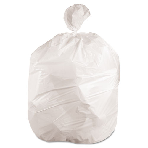 Boardwalk® Waste Can Liners, 56gal, 43 x 47, .6mil, White, 25 Bags/Roll, 4 Rolls/CT