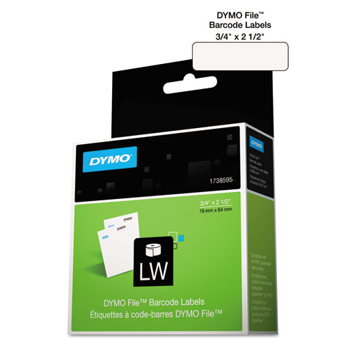 "LabelWriter Bar Code Labels, 0.75"" x 2.5"", White, 450 Labels/Roll 