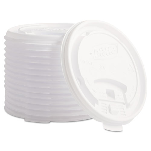 Plastic Lids for Hot Drink Cups, 12 & 16oz, White, 1000/Carton TB9542