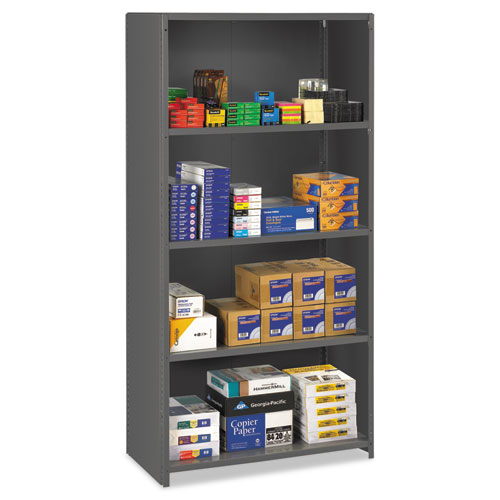 Closed Commercial Steel Shelving, Five-Shelf, 36w x 24d x 75h, Medium Gray | by Plexsupply