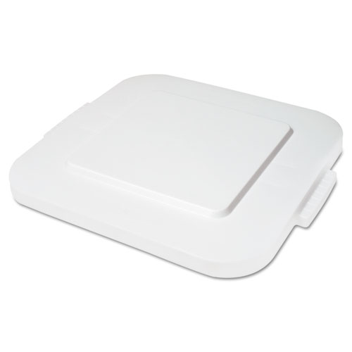 Square Brute Lid, Flat Top, White, Plastic, 24 x 24 x 2
