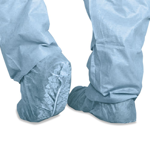 Polypropylene Non-Skid Shoe Covers, Large, Blue, 100/Box
