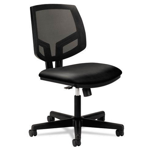 Volt Series Mesh Back Leather Task Chair with Synchro-Tilt, Supports up to 250 lbs., Black Seat/Black Back, Black Base | by Plexsupply