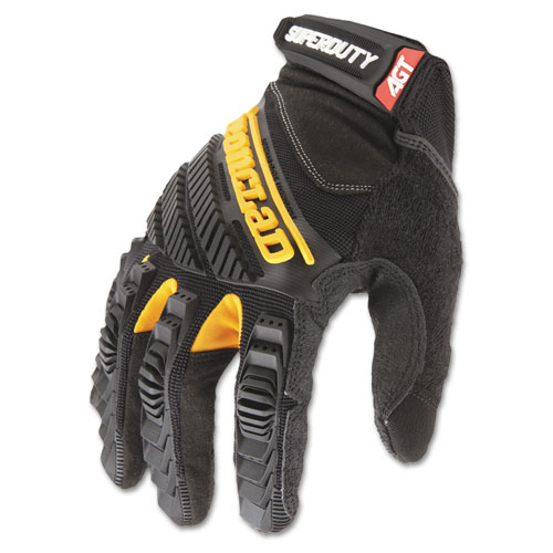 SuperDuty Gloves, Large, Black/Yellow, 1 Pair | by Plexsupply