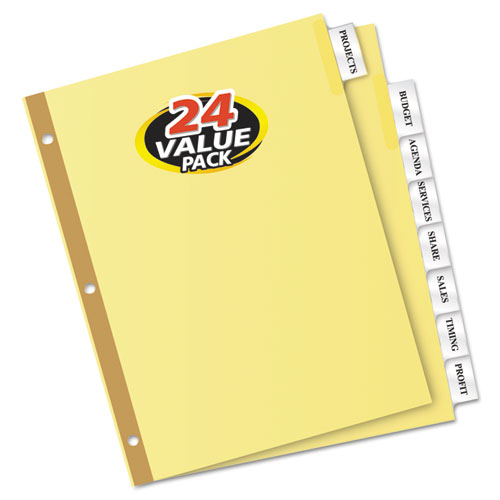 Insertable Big Tab Dividers, 8-Tab, Letter, 24 Sets | by Plexsupply