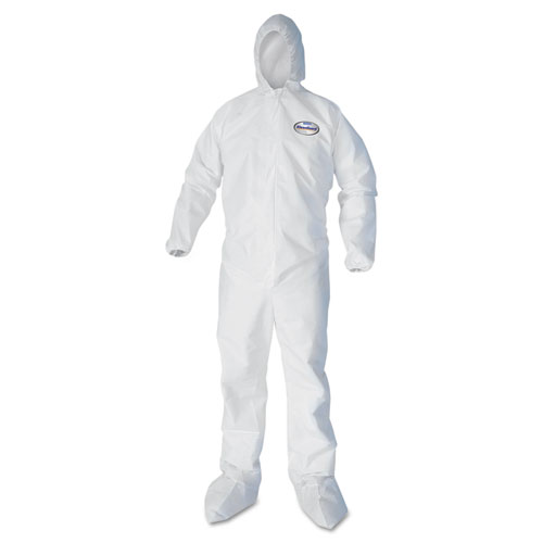 KleenGuard* A30 Elastic Back and Cuff Hooded/Boots Coveralls, White, 4XL,21/Ct