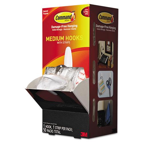 General Purpose Designer Hooks, Medium, 3 lb Cap, White, 50 Hooks and Strips/Pack | by Plexsupply