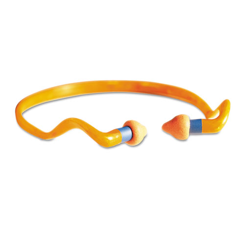 QB2HYG Banded Multi-Use Earplugs, 25NRR, Orange Band/Orange Plug, 10/Box