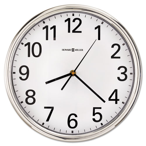 Hamilton Wall Clock, 12 Overall Diameter, Silver Case, 1 AA (sold separately)