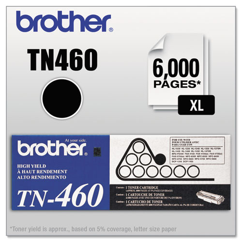 TN460 High-Yield Toner, 6000 Page-Yield, Black