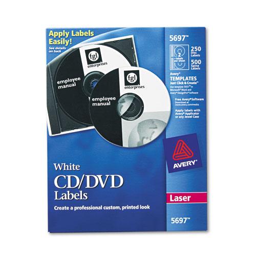 Laser CD Labels, Matte White, 250/Pack | by Plexsupply