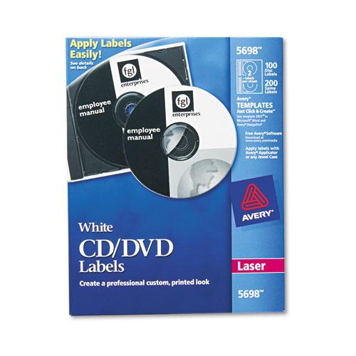 Laser CD Labels, Matte White, 100/Pack