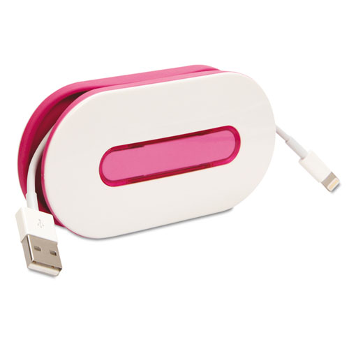 WrapID Cord Wrap w/ID Insert, Holds up to 6ft of Cord, Pink