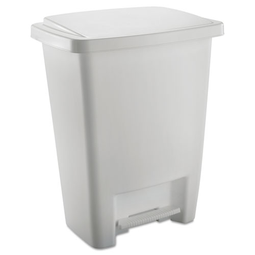 Rubbermaid® Step-On Waste Can, Rectangular, Plastic, 8.25gal, White