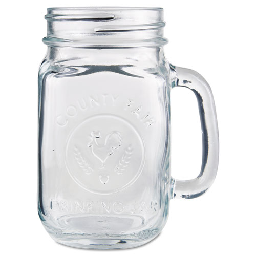 Glass Drinking Jar, 16 1/2 Ounces, Clear, 12/Carton 97085