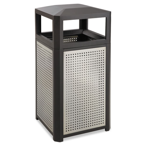 Evos Series Steel Waste Container, 15 gal, Black