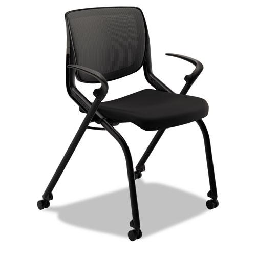 Motivate Nesting/Stacking Flex-Back Chair, Onyx Seat/Black Back, Black Base | by Plexsupply